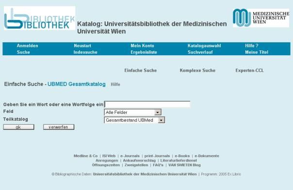Neugestalteter Katalog (OPAC) der Ub der Med Uni Wien