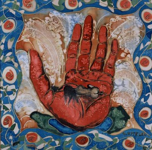 Geborgenheit:Malerei auf Seide.85x85cm,2002